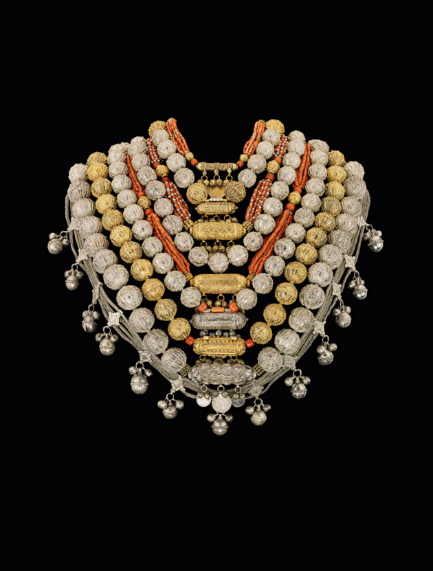 Bridal jewellery, Sana'a, Yemen, 1930s–1940s, silver and gilt-silver filigree and granulation, corals, coins, The Israel Museum, Jerusalem.