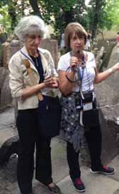 Rabbi Sandy Eisenberg Sasso (R) and guide in the Prauge Jewish Cemetery