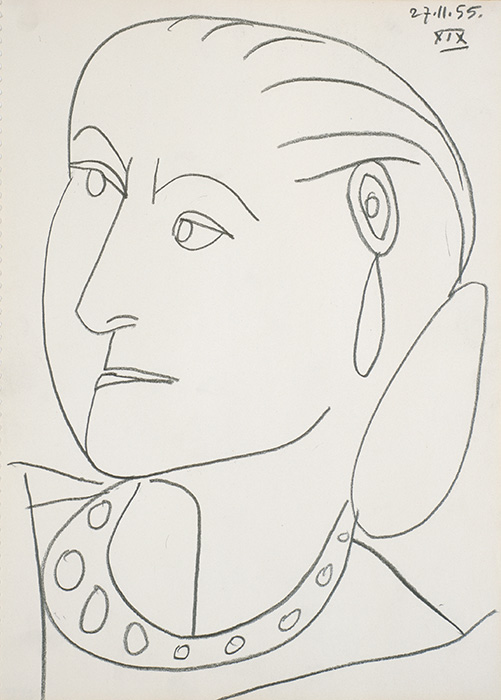 Pablo Picasso, Portrait of Helena Rubinstein XIX 27-11-1955, 1955. Conté crayon on paper, 17 1/4 x 12 5/8 in. (43.8 x 32.1 cm). Himeji City Museum of Art, Japan. © 2014 Estate of Pablo Picasso / Artists Rights Society (ARS), New York.