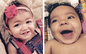 Dafna at one, Adira three months.