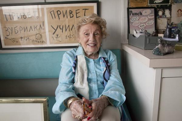 Bel Kaufman at her home in her office. Photo by Ellen Wallenstein.