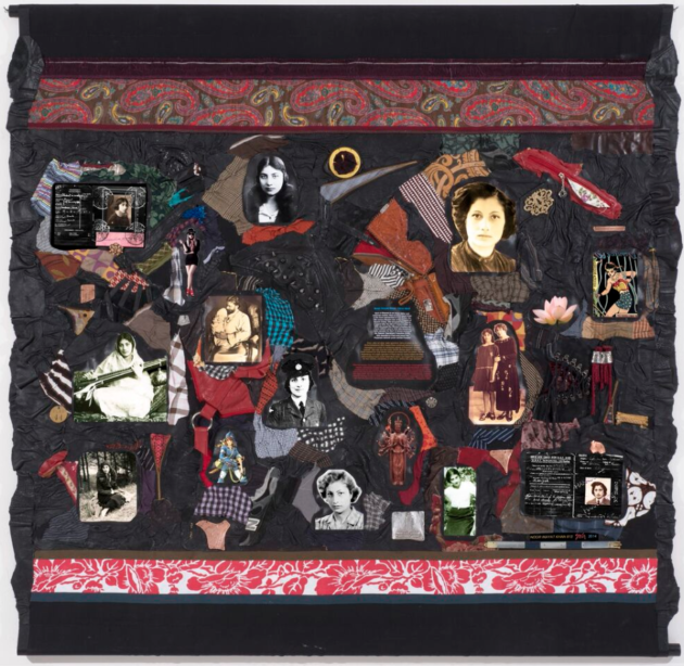 """Noor Inayat Khan 813"" 2014 fabric, archival pigment on canvas, leather, metal, zippers 5 ft. sq."