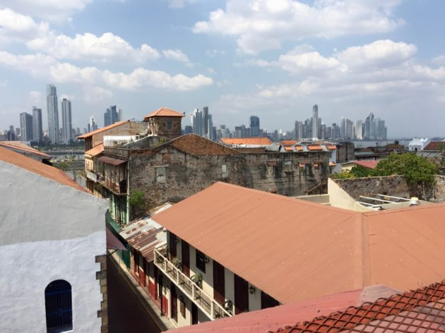 Panama City from the rooftops of the old quarter.