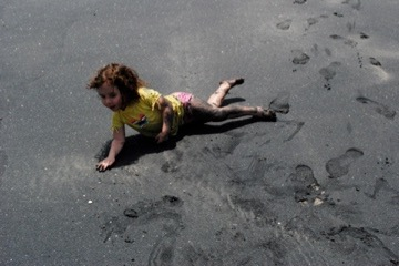 The author's granddaughter on the Panamanian sand.