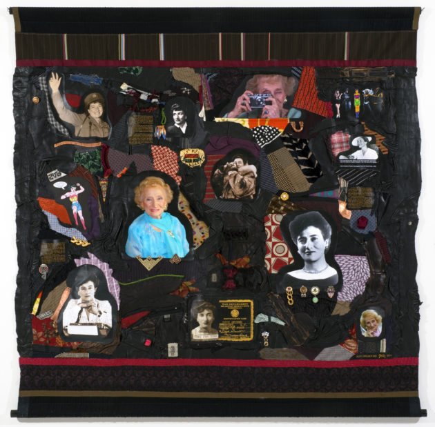 "Tapestry by Linda Stein from her series ""Holocaust Heroes: Fierce Females"""