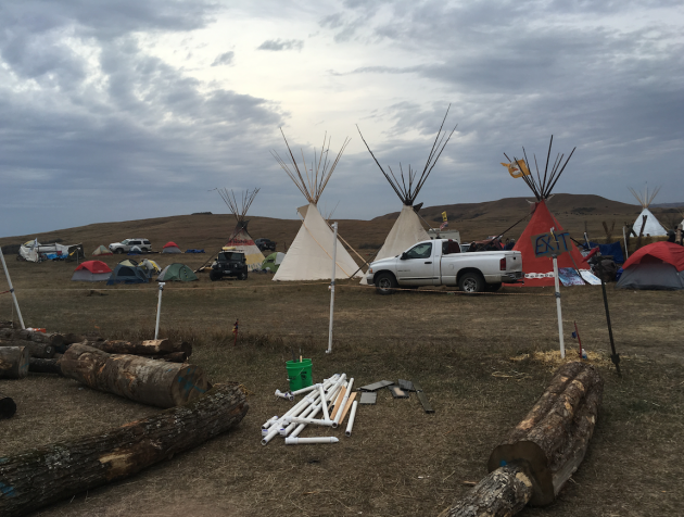The winter camp claimed by eminent domain on the site of DAPL construction. The fence used the remains of our sukkah.