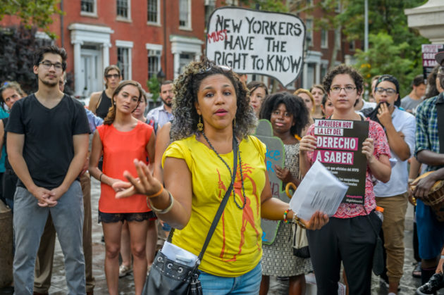 Seven members of the Jews of Color Caucus were arrested on a sit-in, blocking traffic in front of the NYPD 6th Precinct in the West Village to mark  the culmination of the Jews4BlackLives month of action. As the Jewish community in NYC approached Tisha b'Av, JFREJ — led by the Jews of Color Caucus — along with hundreds of neighbors and advocacy groups, held an action and vigil in support of Black Lives Matter to demand an end to police violence against People of Color and the passage of the Right To Know Act in the New York City Council. Photo credit: Erik McGregor.