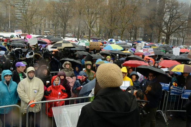 """Hundreds come together amid sleet and hail for the Jewish Rally for Refugees in Battery Park, New York,"" photo by Gili Getz"