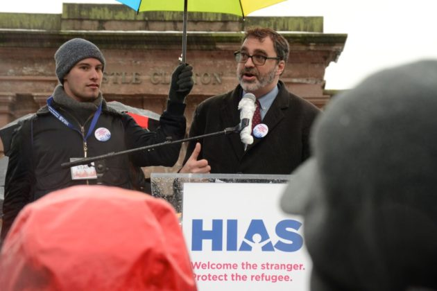 """Mark Hetfield, President and CEO of HIAS, the global Jewish nonprofit that protects refugees, welcomes hundreds to the Jewish Rally for Refugees in Battery Park, New York,"" photo by Gili Getz"