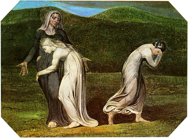 A 1795 William Blake painting of Naomi asking Ruth and Orpah to go back to Moab.