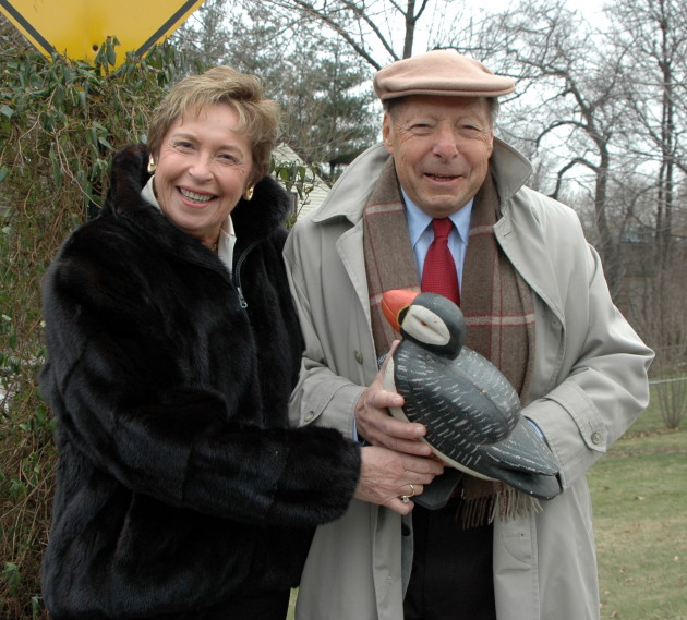 Puffin Foundation, Ltd. Executive Director Gladys Miller-Rosenstein and President Perry Rosenstein during renaming of E. Oakdene Ave. to Puffin Way by the Town Council of Teaneck