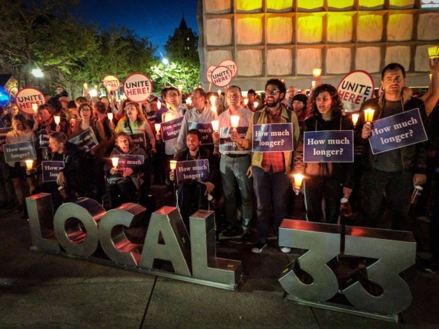 Yale University graduate students at a vigil for the hunger fast. (Photo from Local 33-Unite Here's Facebook page).