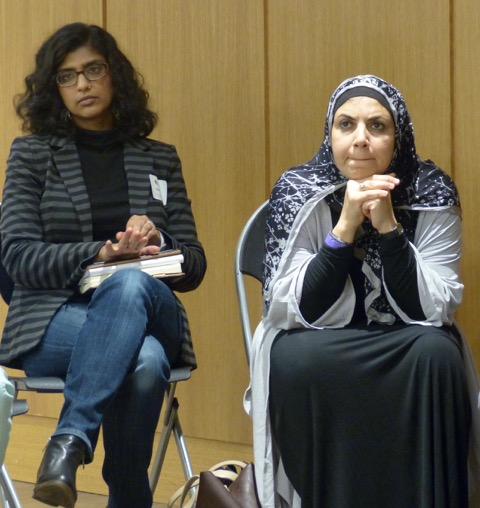 "Two women at the ""Communicating Contradictions: Lean In, Rise Up, Jump In, and Listen!"" workshop. Heba Macksoud of South Brunswick N.J. (right) sought advice after verbal bullying twice in one week. Photo credit: Amy Stone."
