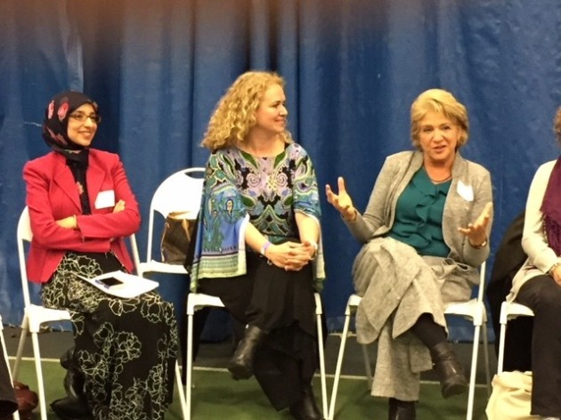 "Workshop on ""Graceful Living With Difference and Disagreement""—(L to R) Faaiza Subhani, SOSS Central Jersey Chapter, and workshop co-leaders from the Charlotte, N.C., Chapter, Arzu Kaya-Uranli and Racelle R. Weiman. Photo credit: Amy Stone."