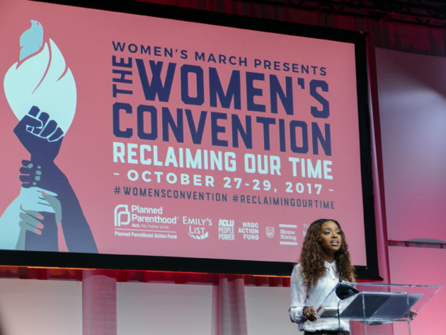 "Tamika Mallory, co-president of the Women's March Board, speaking at the opening session, ""Reclaiming Our Time: Setting the Agenda Together."""