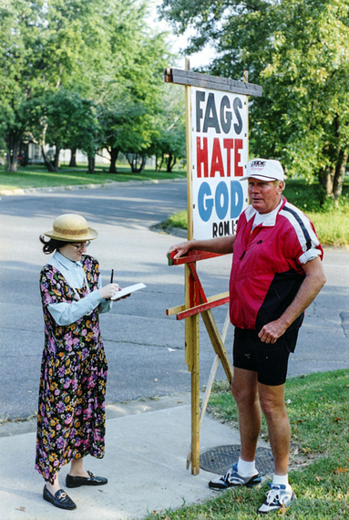 Donna Minkowitz interviewing the late anti-gay, anti-Semitic preacher Rev. Fred Phelps.