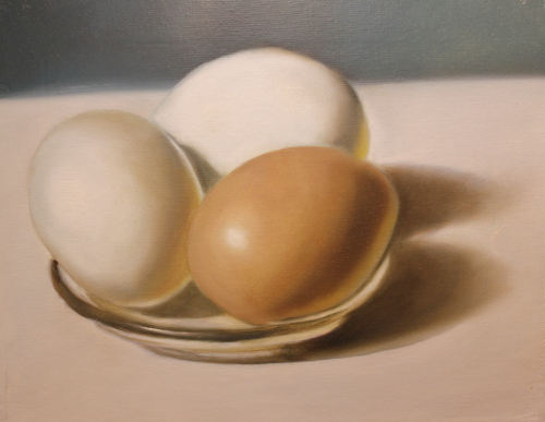 Oil Painting of 3 eggs