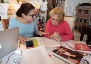 Tovah Feldshuh sits beside Dr. Ruth to chat