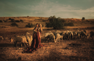 a woman surrounded by sheep